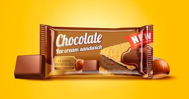 Hazelnoot chocolade-ijs sandwich pakketontwerp