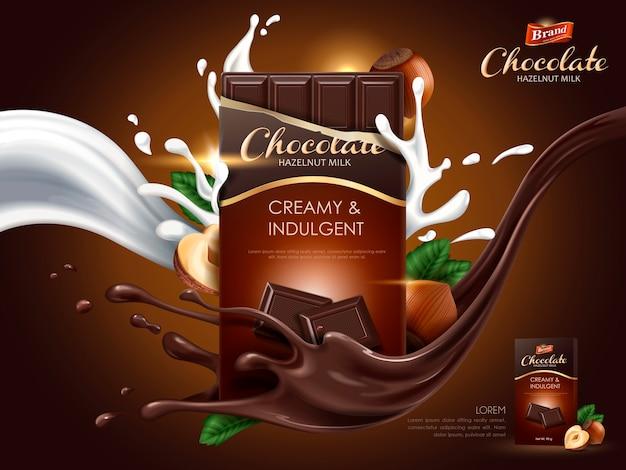 Hazelnootchocoladeadvertentie met melk en cacaostroomelementen, bruine achtergrond, illustratie