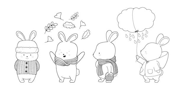 Hazen en konijntjes met warme sjaal, jas, contouren van bladeren.