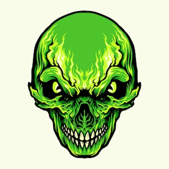 Head angry green skull illustraties
