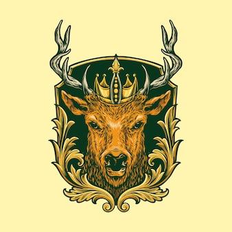 Head deer logo classic illustratie