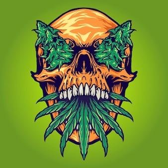 Head skull weed kush vectorillustraties voor uw werk logo, mascotte merchandise t-shirt, stickers en labelontwerpen, poster, wenskaarten reclame bedrijf of merken. Premium Vector