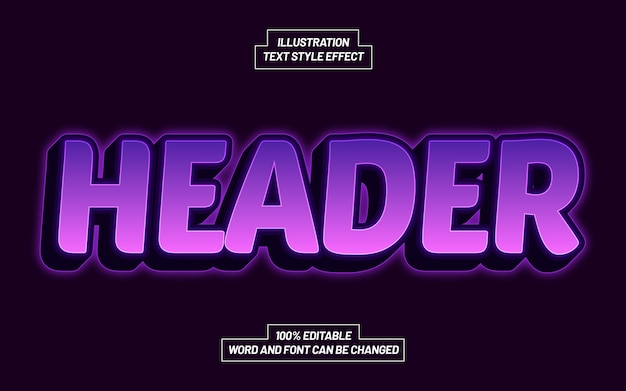 Header purple text style effect