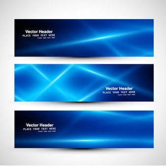 Headers set met blauwe stralen
