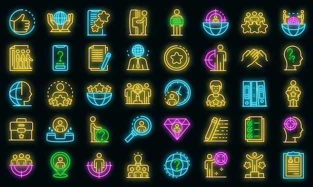 Headhunter pictogrammen instellen. overzicht set van headhunter vector iconen neon kleur op zwart