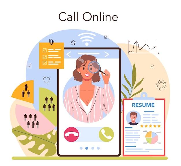 Headhunting online service of platform. idee van zakelijke werving en human resources management. sollicitatiegesprek met een sollicitant. online bellen. platte vectorillustratie