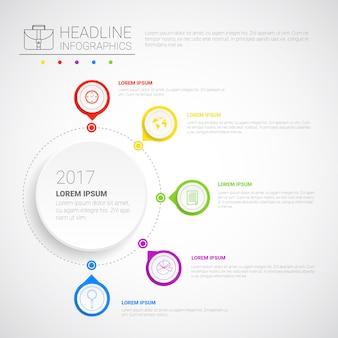 Headline infographic design bedrijfsgegevens grafische verzameling presentatie exemplaarruimte
