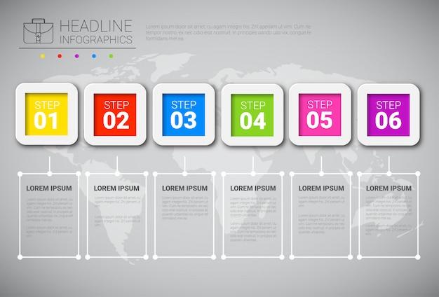 Headline infographic design zakelijke gegevens grafische collectie over wereldkaart presentatie kopie ruimte