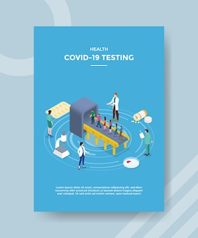 Health covid 19 testende wachtrijen stappen in bij medisch onderzoekstoestel voor sjabloonflyer