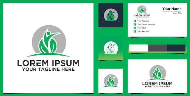 Healthy life logo en visitekaartje premium