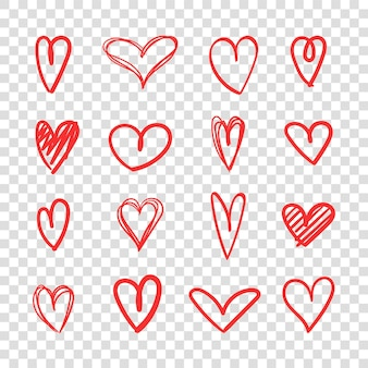 Heand getrokken hart pictogrammenset rood hart schets kunst