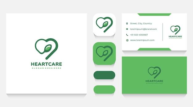 Heart eco care logo sjabloon en visitekaartje