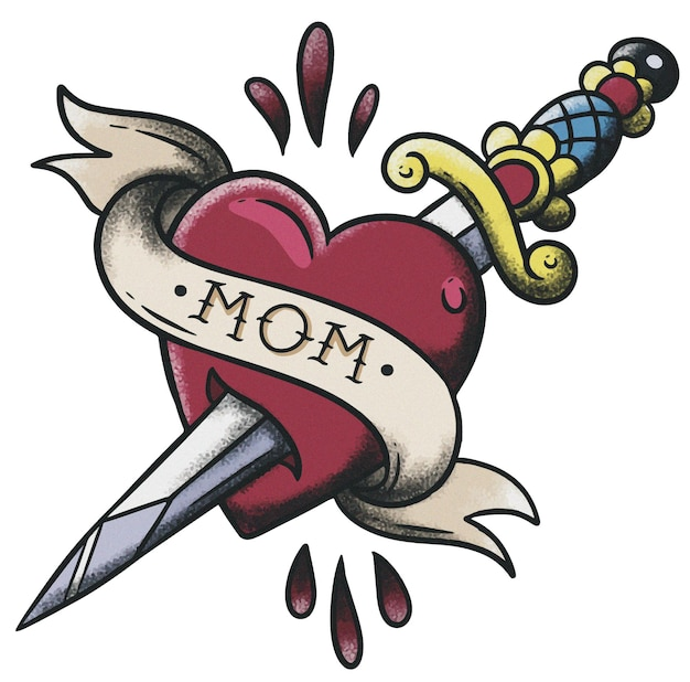 Heart gestoken 'mom' neo traditional old school