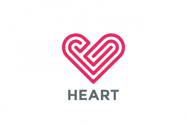Heart labyrinth logo lineaire stijl