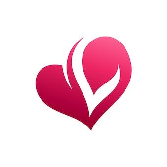 Heart letter l initiaal logo
