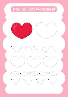 Heart trace-lijnen oefenwerkblad voor schrijven en tekenen voor kinderen