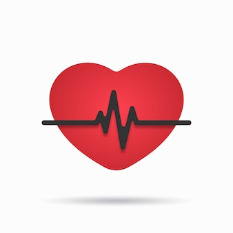 Heartbeat-pictogram op de witte achtergrond