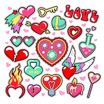 Hearts love badges, stickers, patches voor romatic scrapbook.