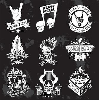 Heavy metal rock badges ingesteld.