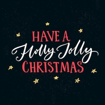 Heb een hulst vrolijke kerst. wenskaartsjabloon met typografie en met de hand getekende sterren op donkere achtergrond.