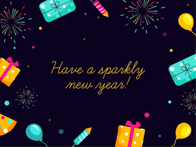 Heb een sprankelend nieuwjaar! lettertype op donkere paarse achtergrond versierd met geschenkdozen, ballonnen en vuurwerk raket.
