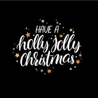 Heb een vrolijk kerstfeest. leuk handschrift christmas wenskaart