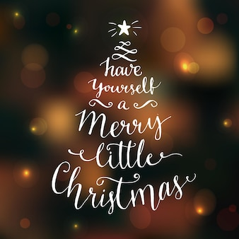 Heb jezelf een vrolijk klein kerstfeest. wenskaart met moderne kalligrafie op donkere vector achtergrond met verlichting en bokeh.