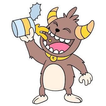 Hebzuchtige monsters eten het heerlijke ingeblikte voedsel op, doodle draw kawaii. illustratie kunst
