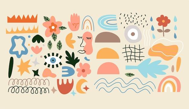 Hedendaagse abstracte symbolen instellen. vectorillustratie van moderne objecten.