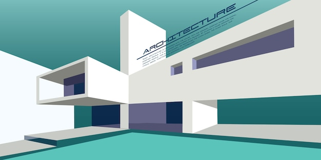 Hedendaagse architectuur vector mockup voor een lay-out bestemmingspagina of ontwerp reclame boekje of folder