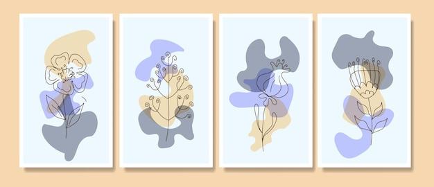 Hedendaagse halverwege de eeuw handgetekende boho potrait doorlopende lijn minimalis botanische sjablonen