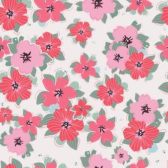 Hedendaagse handgetekende naadloze bloemmotief in vector