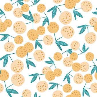 Hedendaagse kersen bessen en bladeren naadloze patroon.