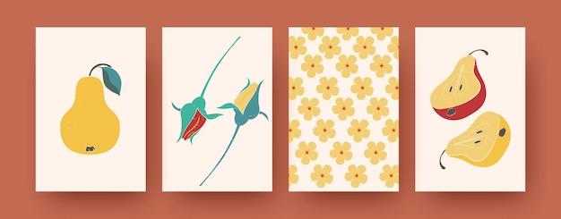 Hedendaagse kunstposters met bloemen- en fruitthema