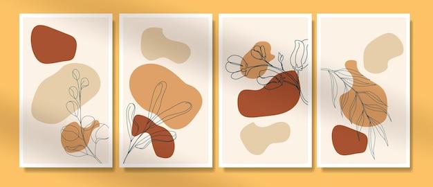 Hedendaagse mid-eeuwse handgetekende boho potrait doorlopende lijn minimalis botanische sjablonen