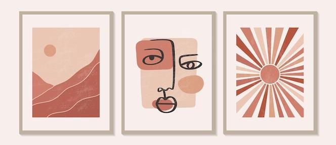 Hedendaagse moderne minimalistische abstracte berglandschappen esthetische illustraties