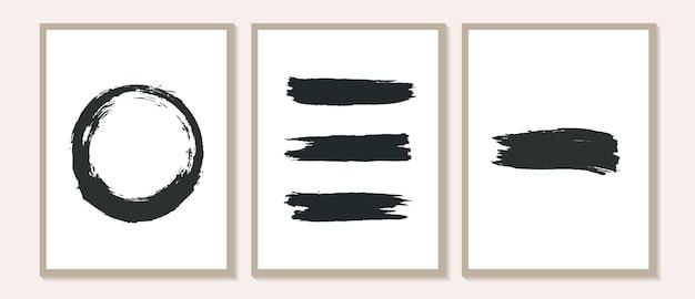 Hedendaagse poster met organische abstracte penseelstreekvormen en lijn zwart-wit kunst aan de muur