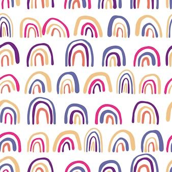 Hedendaagse regenbogen lijnen naadloos patroon. hand getekende vector achtergrond. leuk behang. eenvoudig ontwerp voor stof, textielprint, verpakking.