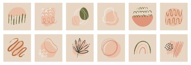 Hedendaagse sjablonen met abstracte vormen, moderne boho-stijl uit het midden van de eeuw