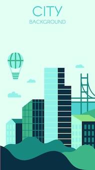 Hedendaagse stad achtergrond. moderne wolkenkrabbers gemaakt van glas, bruggen en groene heuvels.