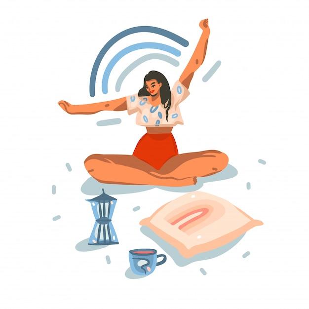 Heeft de hand getrokken illustratie met jong glimlachend gelukkig wijfje ochtend yoga thuis uitrekt met confetti die op witte achtergrond wordt geïsoleerd