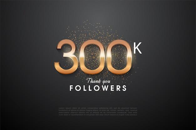 Heel erg bedankt 300.000 volgers met een heldere, heldere figuurillustratie in het midden.