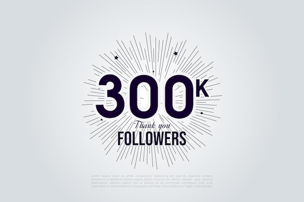 Heel erg bedankt 300.000 volgers met geïllustreerde nummers en lijnen die op de zon lijken.