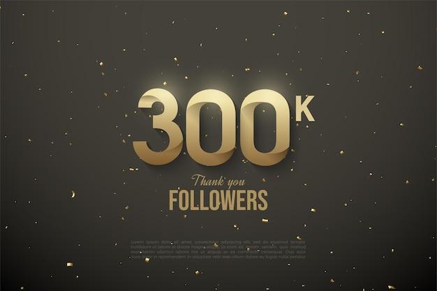 Heel erg bedankt 300.000 volgers met illustraties met zachte patronen.