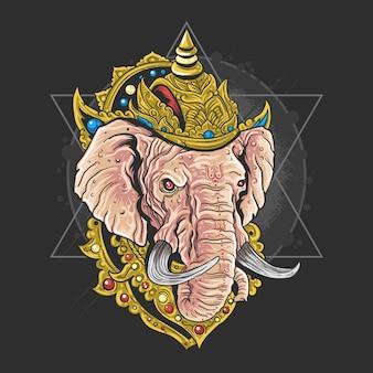 Heer ganesha hindu god kunstwerk vector