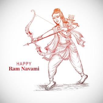 Heer rama met pijl die ravana doodt op het festival van navratri