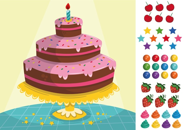 Heerlijk drielaags taartdecoratiespel voor kinderen vectorillustratie