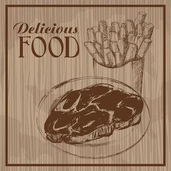 Heerlijk eten hand getekend vintage poster