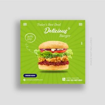 Heerlijk eten social media post banner en instagram design template premium vector