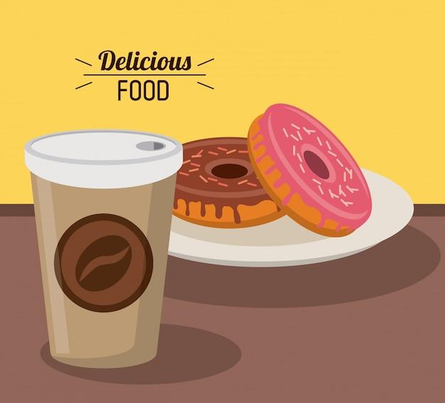 Heerlijk eten zoete donuts met papieren koffiekopje